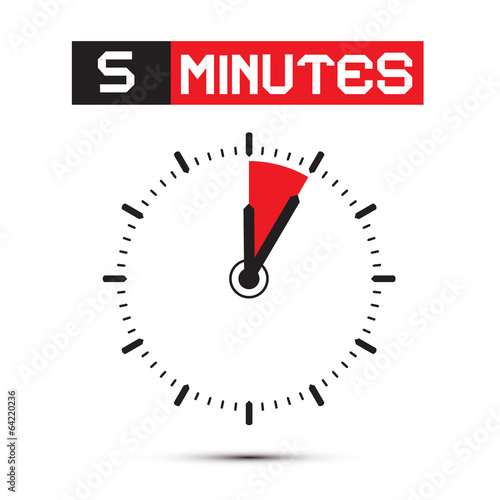 Five Minutes Stop Watch - Clock Vector Illustration Poster