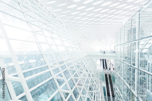 Abstract architectural wall of glass and steel in modern office