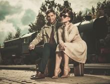 Vintage Couple On Train Station Platform