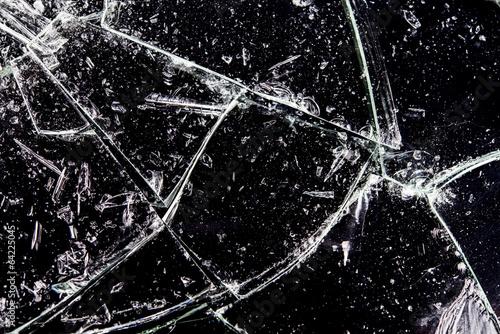 割れたガラス Fotobehang