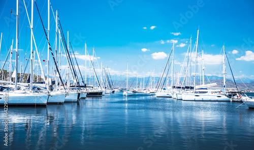 Sail boat harbor Canvas Print