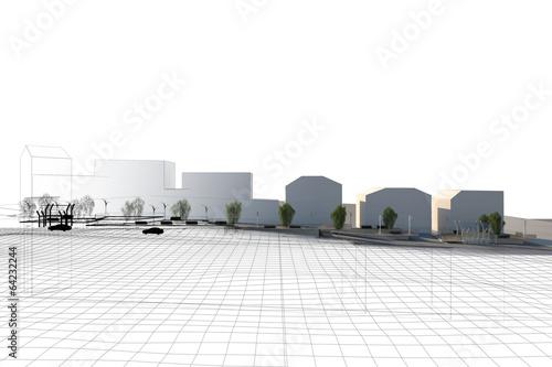 Obraz Piazza Progetto Pedane Architettura Wireframe - fototapety do salonu