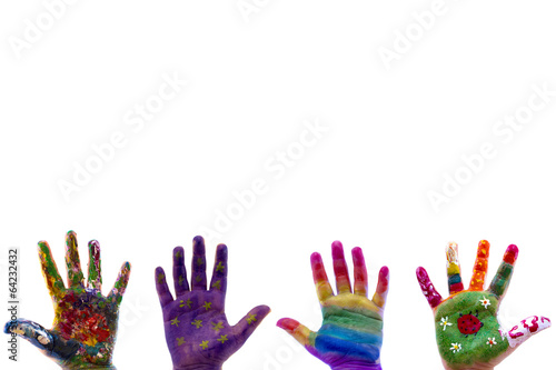 Garden Poster Brazil Child's hands painted watercolor on white background