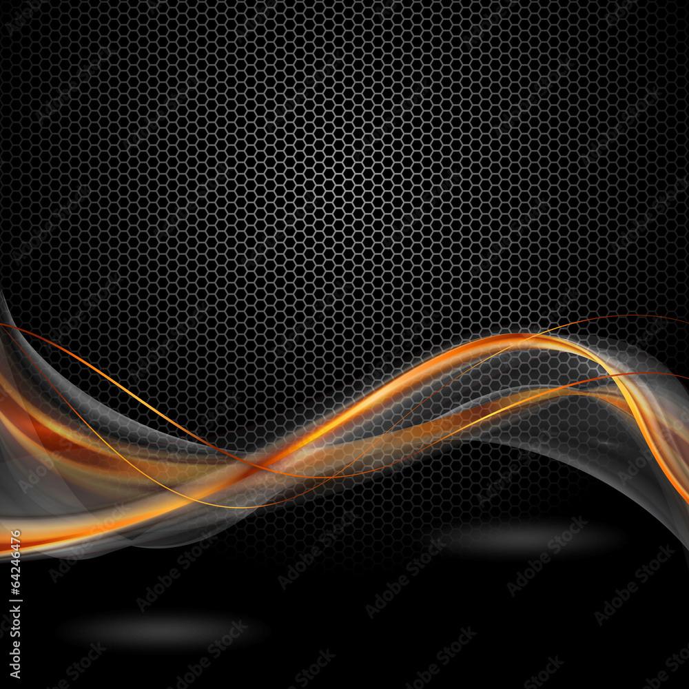 Fototapeta pomaraczowo szare wstęgi na czarnym tle