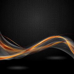 pomaraczowo szare wstęgi na czarnym tle