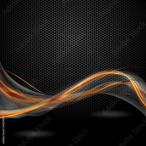 Obraz pomaraczowo szare wstęgi na czarnym tle - fototapety do salonu