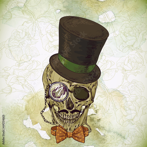 hipster-skull-vintage-background