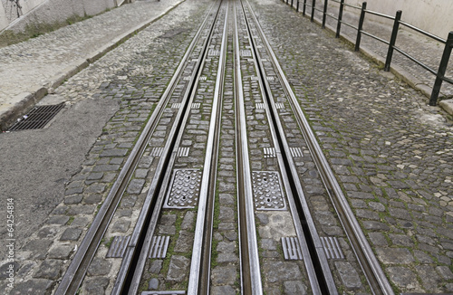 Photo  Tram tracks in the city