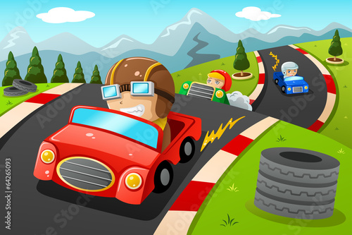 Keuken foto achterwand Cartoon cars Kids in a car racing