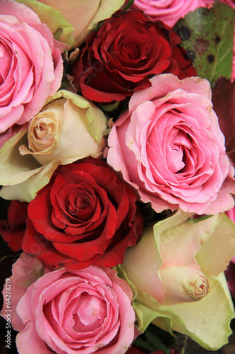 Aluminium Prints Dahlia Wedding flowers in pink and red