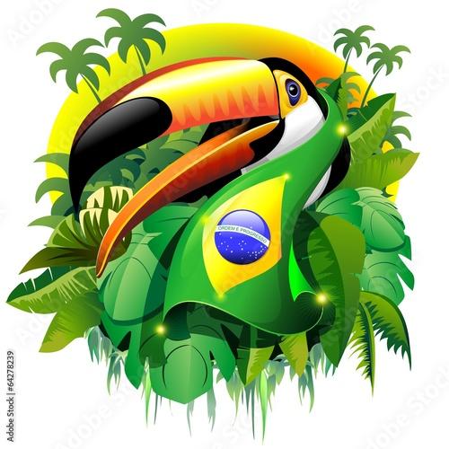 Fotografie, Obraz  Toco Toucan with Brazil Flag