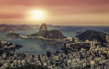 fototapeta Sunrise panorama nad Rio de Janeiro, Brazylia