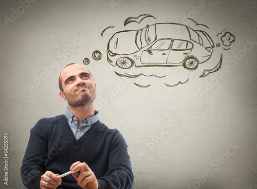 Fotomural Man dreaming car