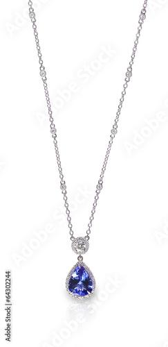 Foto  Blauer Edelstein und Diamant Anhänger Halskette