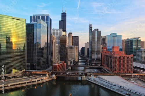 Photo sur Toile Chicago Chicago River from above