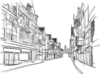 sketch of a street in the old town