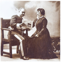 Old Portrait Of Marriage. Vint...