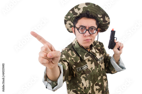 Canvas Prints Military Funny soldier isolated on the white