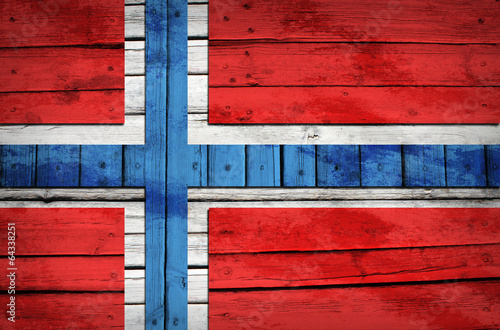 Norwegian flag painted on wooden boards Wallpaper Mural