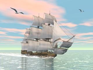 Panel Szklany Żagle Old merchant ship - 3D render