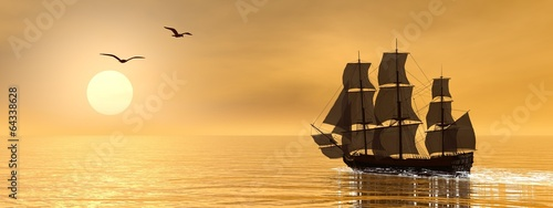 Fotobehang Schip Old merchant ship - 3D render