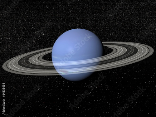 Photo Neptune and rings - 3D render