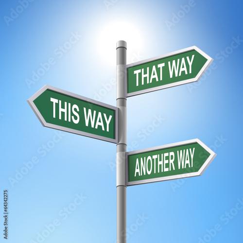 Fotomural  3d road sign saying three ways