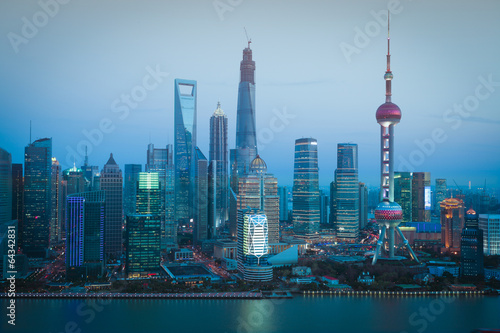 Photo Stands Shanghai Aerial photography Shanghai skyline at night