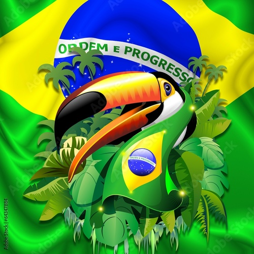 Toco Toucan with Brazil Flag