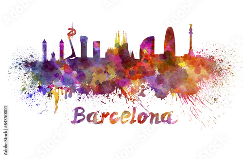 Foto op Aluminium Barcelona Barcelona skyline in watercolor