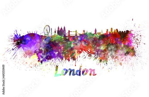 Foto op Canvas Londen London skyline in watercolor