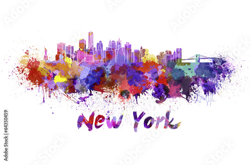 Staande foto New York New York skyline in watercolor