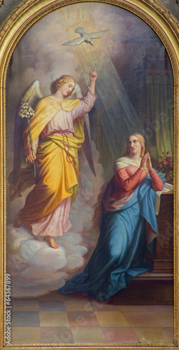 Fototapeta Vienna - Annunciation from main altar of baroque Servitenkirche obraz na płótnie