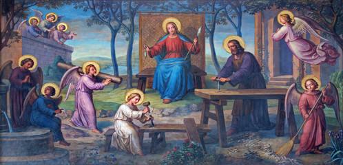 Fototapeta Vienna - Fresco of Holy Family in workroom in Carmelites church