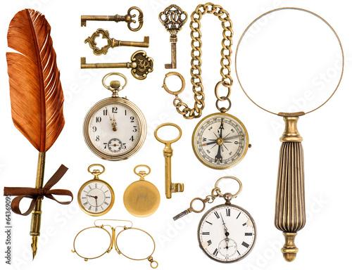antique accessories. antique keys, clock, loupe, compass Fototapete
