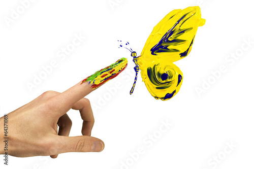 Fotografie, Obraz  Touch between finger and painted yellow butterfly