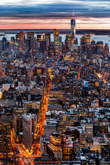 Panel Szklany Nowy York New York aerial cityscape at sunset