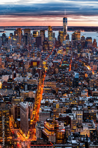 Photo  New York aerial cityscape at sunset