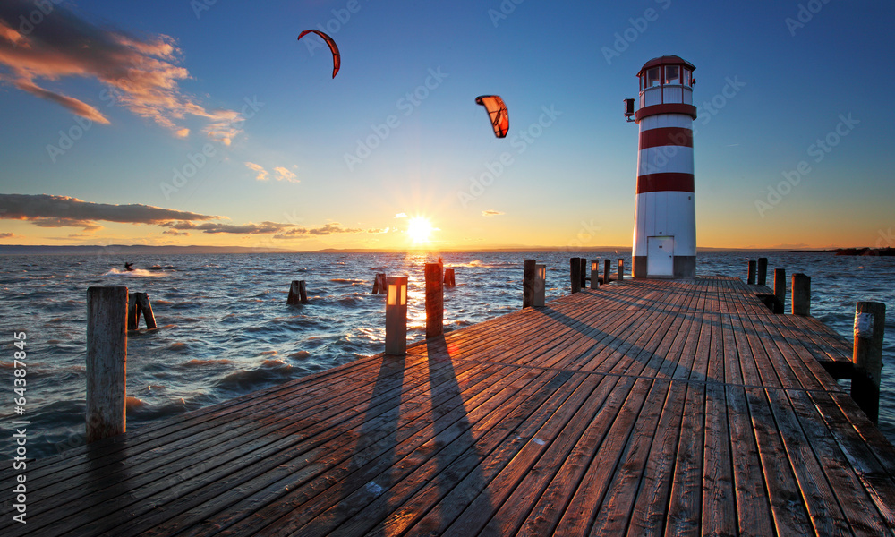 Fototapety, obrazy: Lighthouse at Lake Neusiedl at sunset