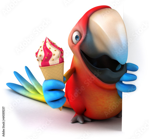 Fototapety, obrazy: Parrot and ice cream