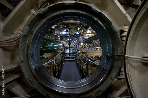 submarine interior view through manhole Fotobehang