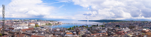 Panoramic view of city of Geneva, the Leman Lake and the Water Wallpaper Mural