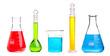 Leinwandbild Motiv chemistry flask with red liquid
