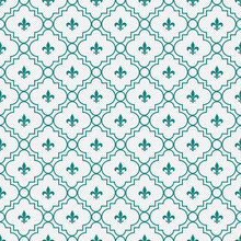 White And Dark Teal Fleur-De-L...