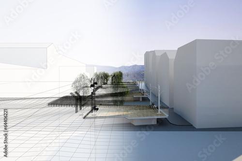 Obraz Piazza Progetto Pedane Architettura - fototapety do salonu