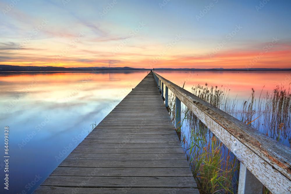 Fototapety, obrazy: Sunset at Long Jetty Tuggerah Lake NSW Australia
