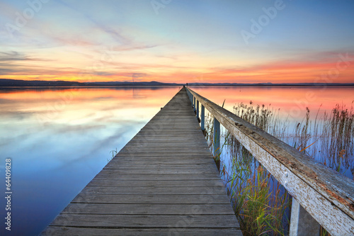 Obraz Sunset at Long Jetty Tuggerah Lake NSW Australia - fototapety do salonu