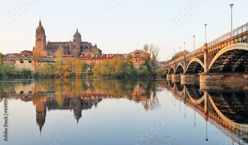 Salamanca over Tormes river and Cathedral, Spain