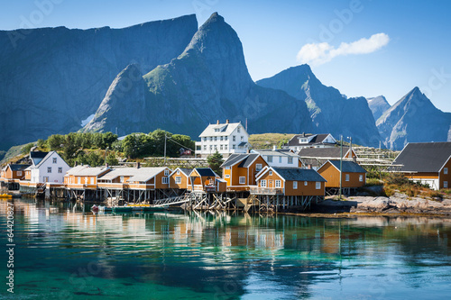 Poster Scandinavia Typical Norwegian fishing village with traditional red rorbu hut