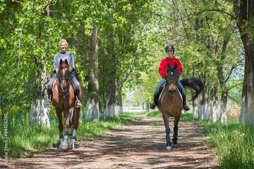 Poster Equitation Girls on horseback riding